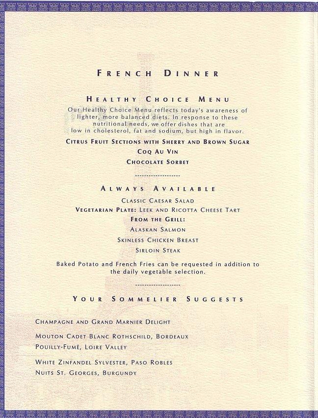 thursday menu french dinner